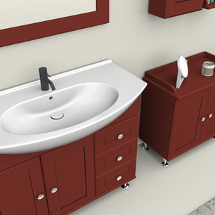 COMP. 113 Particolare lavabo integrato in ceramica da cm 105 x 50 x h 4.