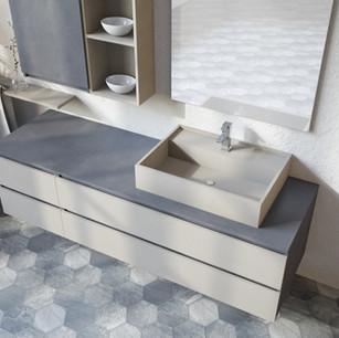 COMP. 20 Particolare lavabo in appoggio in resina effetto corian Champagne 1505 opaco da cm 63 x 44 x h 13.