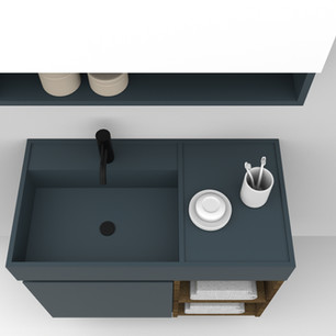 COMP. 88 Particolare top scatolato con vasca integrata sinistra in resina effetto corian Blu Petrolio 30 da cm 83 x 44 x h 13.