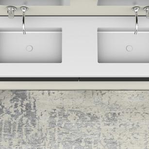 COMP. 22 Particolare top scatolato con doppia vasca integrata in resina effetto corian Bianco matt da cm 180 x 51 x h 13.