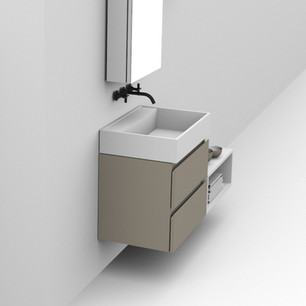 COMP. 84 Particolare top scatolato con vasca integrata in resina effetto corian Bianco matt da cm 63 x 44 x h 13.