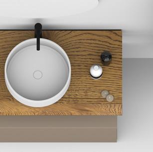 COMP. 09 Particolare lavabo Roma in appoggio in ceramica diametro 40.