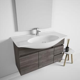 COMP. 116 Particolare lavabo integrato in ceramica da cm 90 x 50 x h 4.