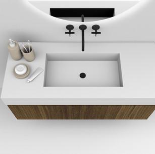 COMP. 38 Particolare  top scatolato con vasca integrata in resina effetto corian Bianco matt da cm 120 x 46 x h 13.