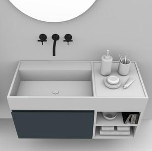 COMP. 92 Particolare top scatolato con vasca integrata sinistra in resina effetto corian Bianco matt da cm 98 x 44 x h 13.