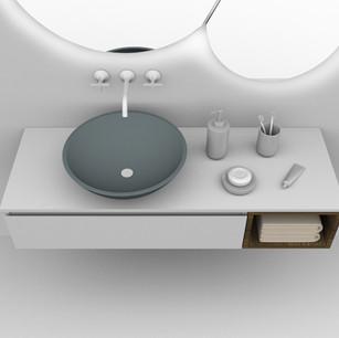 COMP. 13 Particolare lavabo New York in appoggio in ceramica effetto corian Verde Laguna 47 opaco diametro 45.