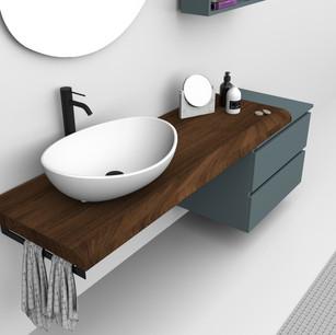 COMP. 07 Particolare lavabo Venezia in appoggio in ceramica da cm 59 x 44 x h 17.