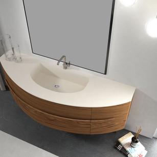 COMP. 58 Particolare top con vasca integrata in resina effetto corian Bianco Ghiaccio 291 da cm 180 x 58 x h 1,5.