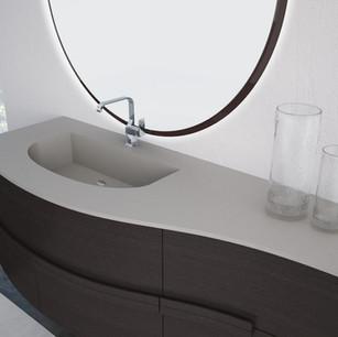 COMP.  57 Mobile da cm 162 x 58 x h 55 con ante in finitura Essenza Rovere Antracite Top con vasca integrata in resina effetto murale Cenere 275 da cm 162 x 58 x h 1,5.