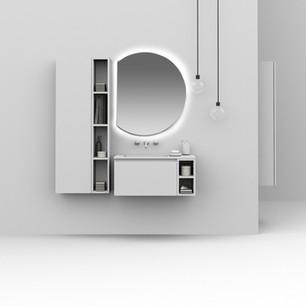 COMP. 43 Mobile da cm 70 x 46 x h 37 con cassetto e base a giorno da cm 18,5 x 46 x h 37 in finitura laccata Bianco opaco. Top con vasca integrata in resina effetto corian Bianco matt da cm 88,5 x 46 x h 1,5.