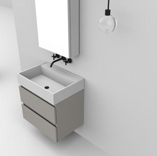 COMP. 119 Particolare top scatolato con vasca integrata in resina effetto corian Bianco matt da cm 63 x 44 x h 13.