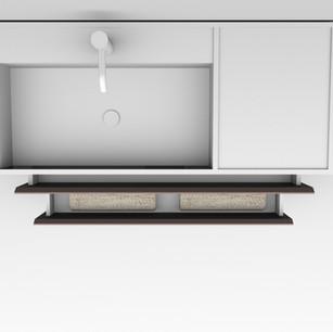 COMP. 86 Particolare top scatolato con vasca integrata destra in resina effetto corian Bianco matt da cm 98 x 44 x h 13.