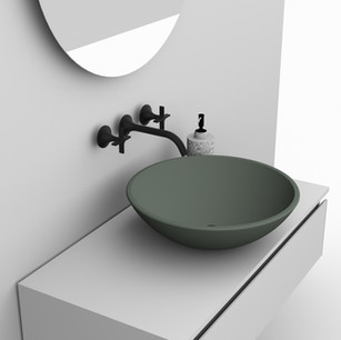 COMP. 10 Particolare lavabo New York in appoggio in ceramica effetto corian Verde Laguna 47 opaco diametro 45.