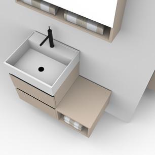 COMP. 89 Particolare top scatolato con vasca integrata in resina effetto corian Bianco matt da cm 48 x 44 x h 13.