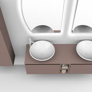 COMP. 17 Particolare lavabo New York in appoggio in ceramica diametro 45.