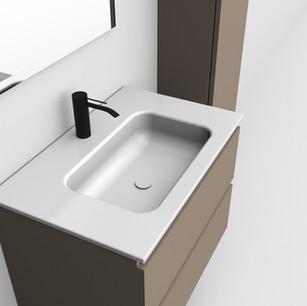 COMP. 30 Particolare lavabo integrato in ceramica da cm 71 x 46 x h 2 .