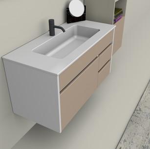 COMP. 110 Particolare lavabo integrato in ceramica da cm 101 x 46 x h 2.