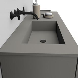 COMP. 27 Particolare top con vasca integrata in resina effetto corian Grigio Stone 276 da cm 138,5 x 51 x h 1,5.