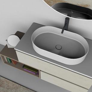 COMP. 04 Particolare lavabo Firenze in appoggio in ceramica da cm 60 x 36 x h 14,5.