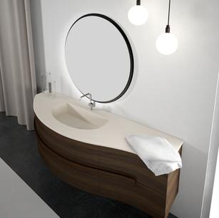 COMP. 59 Particolare top con vasca integrata in resina effetto murale Bianco Ghiaccio 291 da cm 198 x 58 x h 1,5.