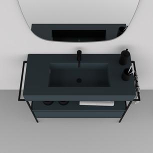 COMP. 98 Particolare top con vasca integrata in resina effetto corian Blu Petrolio 30 da cm 100 x 46 x h 13.