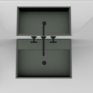 COMP. 93 Particolare top scatolato con vasca integrata in resina effetto corian Verde Laguna 47 da cm 63 x 44 x h 13.