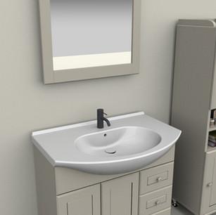 COMP. 112 Particolare lavabo integrato in ceramica da cm 90 x 50 x h 4.
