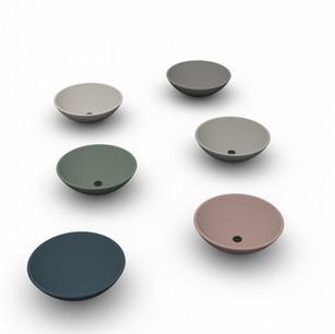 Lavabo New York in appoggio in ceramica effetto corian diametro 45.