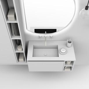 COMP. 43 Particolare top con vasca integrata in resina effetto corian Bianco matt da cm 88,5 x 46 x h 1,5.