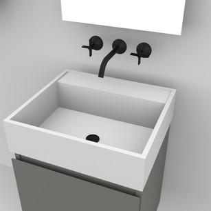 COMP. 94 Particolare top scatolato con vasca integrata in resina effetto corian Bianco matt da cm 48 x 44 x h 13.