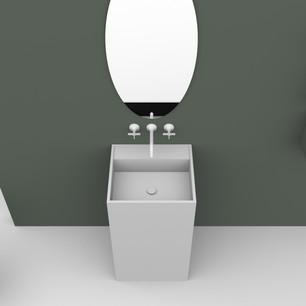 COMP. 95 Particolare top scatolato con vasca integrata in resina effetto corian Bianco matt da cm 48 x 44 x h 13.