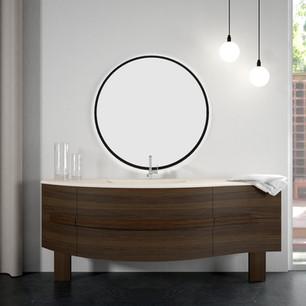 COMP. 59 Mobile da cm 198 x 58 x h 55 con cassetti e ante in finitura Essenza Rovere Brown Top con vasca integrata in resina effetto murale Bianco Ghiaccio 291 da cm 198 x 58 x h 1,5.