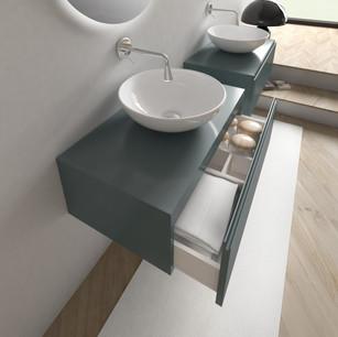 COMP. 21 Particolare lavabi New York in appoggio in ceramica diametro 45.