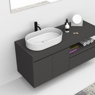 COMP. 01 Particolare lavabo Firenze in appoggio in ceramica da cm 60 x 36 x h 14,5.