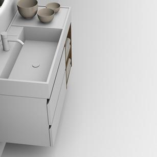 COMP. 87 Particolare top scatolato con vasca integrata sinistra in resina effetto corian Bianco matt da cm 98 x 44 x h 13.