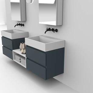 COMP. 90 Particolare top scatolati con vasca integrata in resina effetto corian Bianco matt da cm 63 x 44 x h 13.