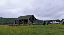 trucks and the barn