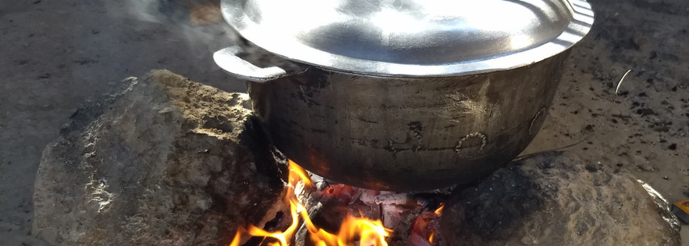 Cooking is generally done over charcoal or open wood fires.