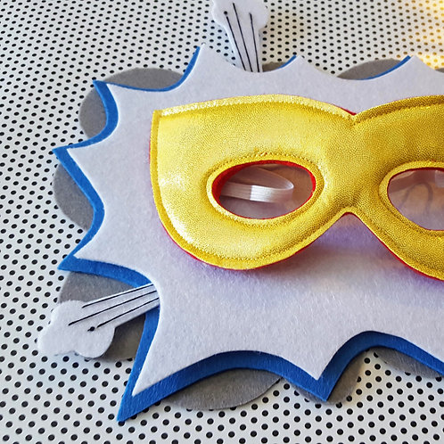 Superhero Mask - Yellow with Red