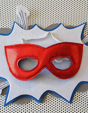 Superhero Mask - Red with Blue