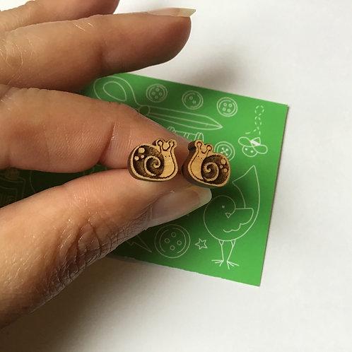 Laser Cut Wood Earring - Snails