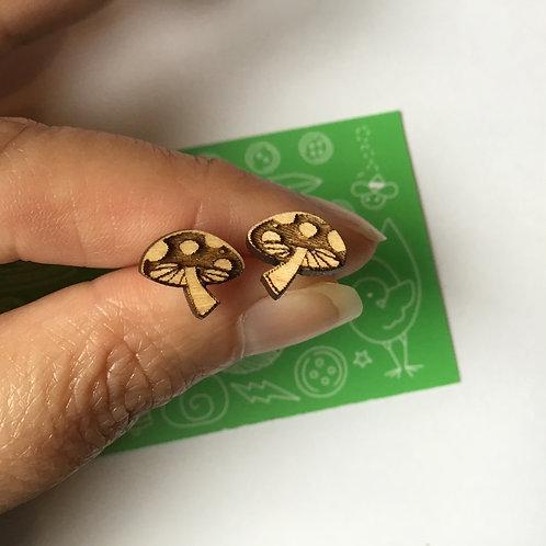 Laser Cut Wood Earring - Mushrooms