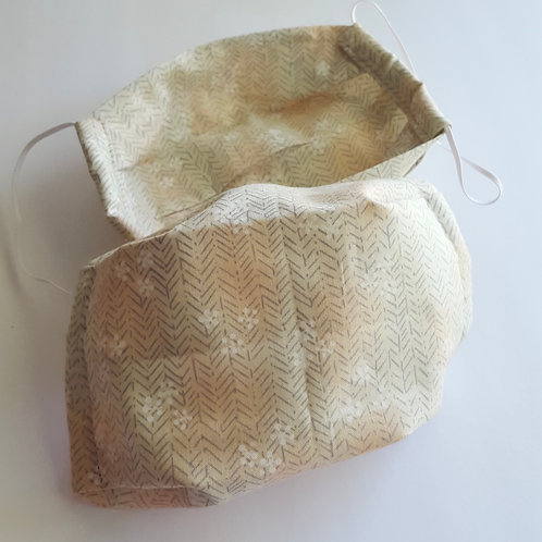 Non-medical Face Mask - Beige and Grey Floral