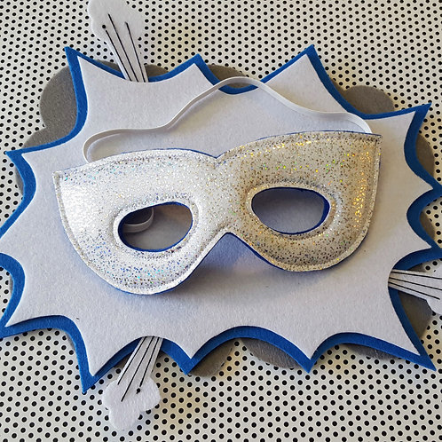 Superhero Mask - Silver Speckled White with Blue