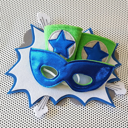 Super Hero Cuff & Mask Set - Blue & Green