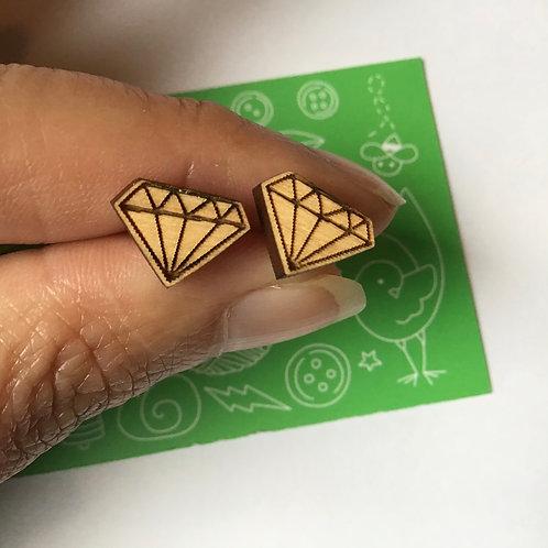 Laser Cut Wood Earring - Diamonds