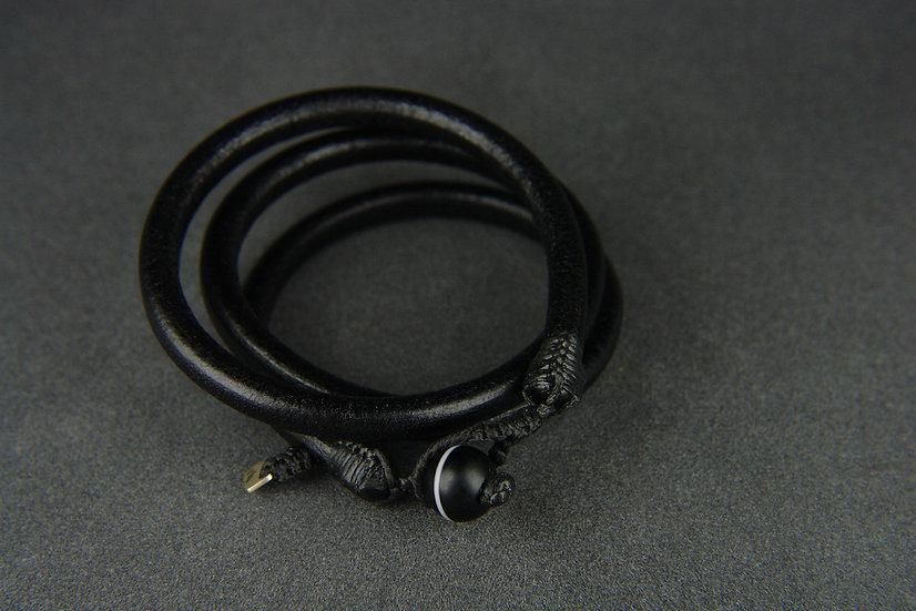 Bracelet cuir de buffle 3 rangs XS à M