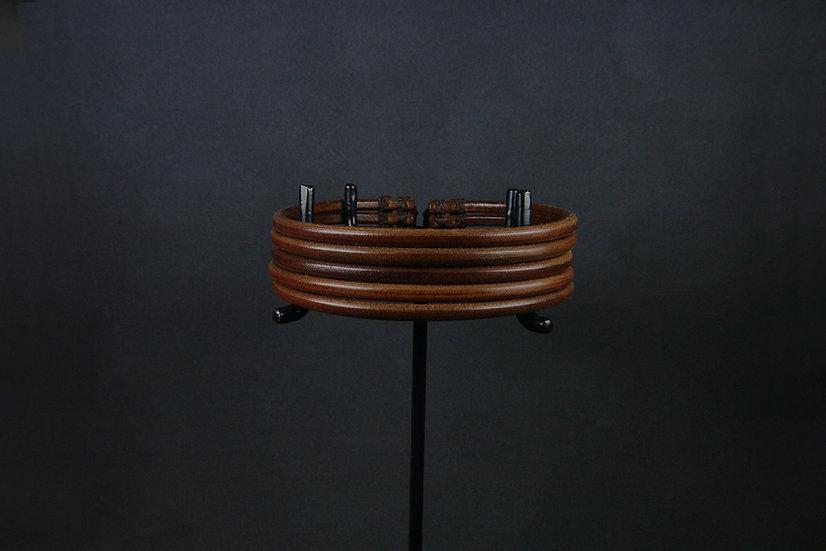 collier 5 rangs brun