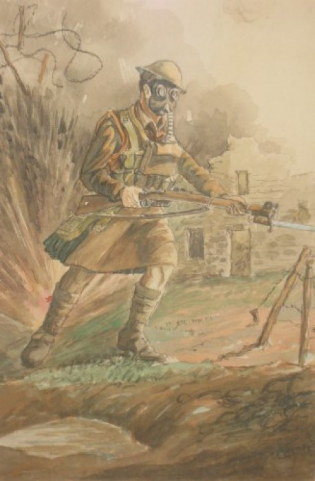 Highlander in Gas Mask - Undated. Watercolor on board.