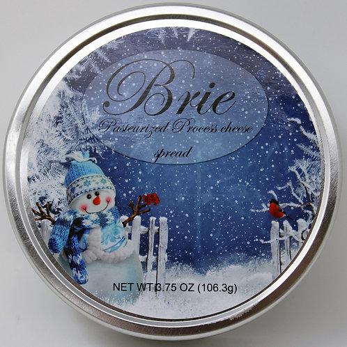 #1143XMas 3.75oz Brie Tin Snowman Design 24/case $2.50@ NEW PRODUCT